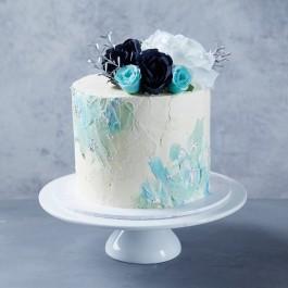 Groovy Blue White Palette Cake Personalised Birthday Cards Sponlily Jamesorg