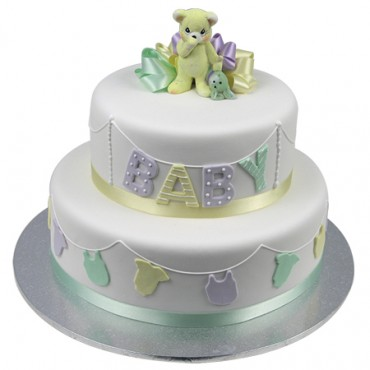 Baby Bunting Teddy Bear Cake - Two Tiers