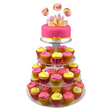 Flowers And Lollipops Birthday Cupcake Cake