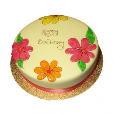 Flowers Cake - Round