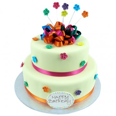 Two Tier Funky Colourful Flowers