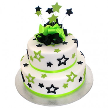 Two Tier Green & Black stars