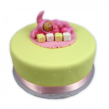 Sleeping Baby Cake (Pink) - Round