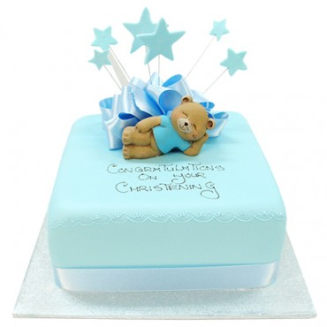 Bear with Blue Stars Cake - Square