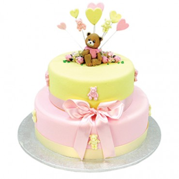 Teddy Bears and Hearts Cake - Two Tiers