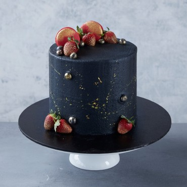 Black & Gold dust Strawberry Celebration Cake