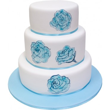 Blue Rose Wedding Cake