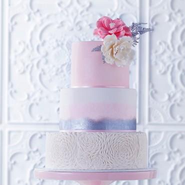 Pink Stencilled Wedding Cake