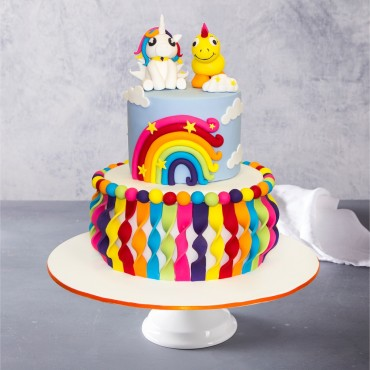 Rainbow Ribbon Birthday Cake