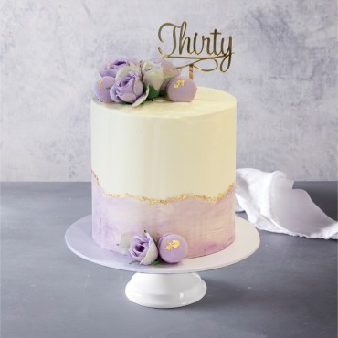 Purple and Gold Buttercream Celebration Cake