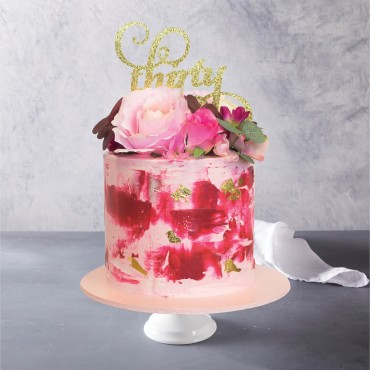 Fuchsia and Gold Buttercream Celebration Cake