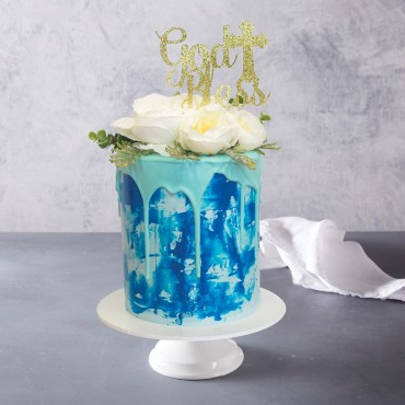 Aqua Drip Celebration Cake