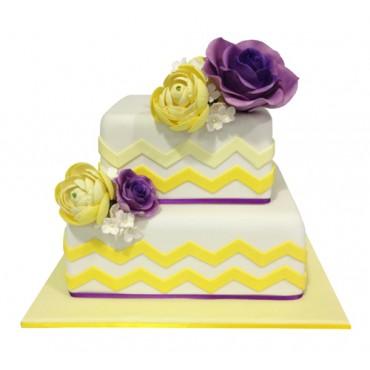 Chevron Love Wedding Cake