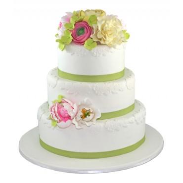 Floral Cluster Wedding Cake