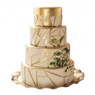 Geometric Gold Cake