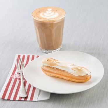 Mini Lemon Meringue Eclair with latte