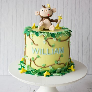 Monkey & Banana Custom Cake