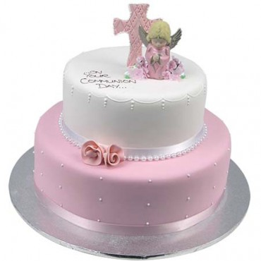 Pink Two Tier Angel & Cross Cake