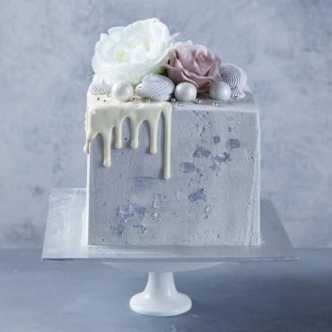 Silver Block Drip Cake