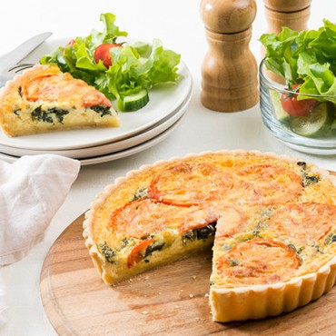 Family Tomato & Spinach Quiche slice