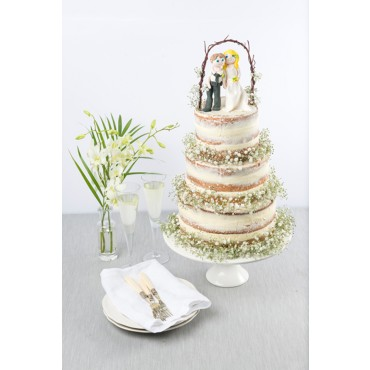 Sweet Chapel of Love Naked Wedding Cake