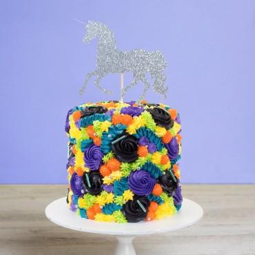 Unicorn Flowers Birthday Cake