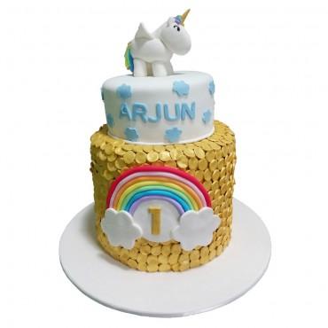 Unicorn's Rainbow Birthday Cake
