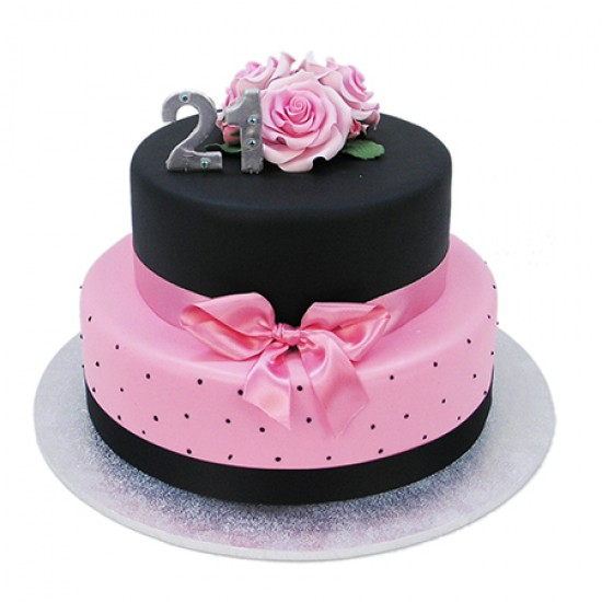Remarkable Black And Pink 21St Cake Two Tiers Funny Birthday Cards Online Sheoxdamsfinfo