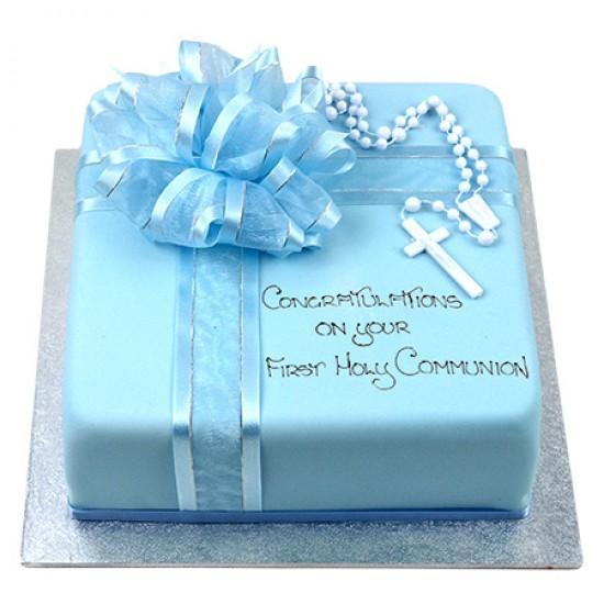 Cake Decoration Rosary Beads : Rosary Bead Cake (Blue) - Square