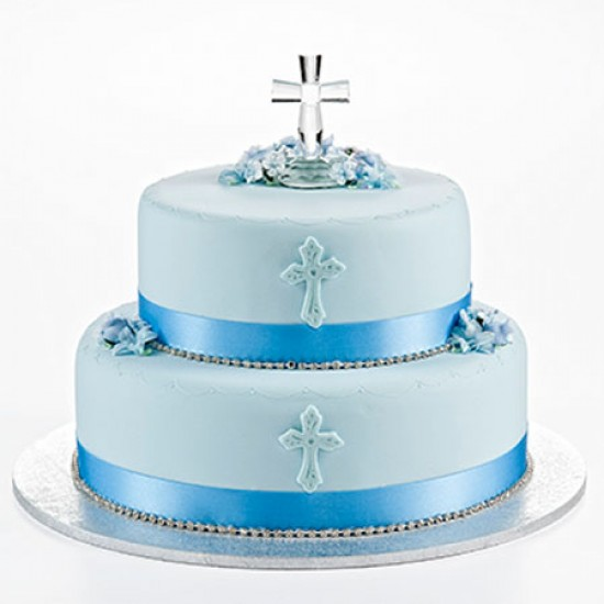 Crystal Cross Cake Blue Two Tier