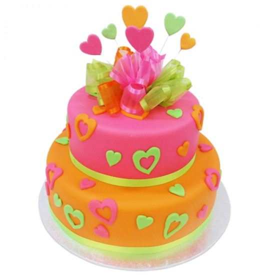 Incredible Funky Sugar Hearts Cake Two Tier Personalised Birthday Cards Arneslily Jamesorg