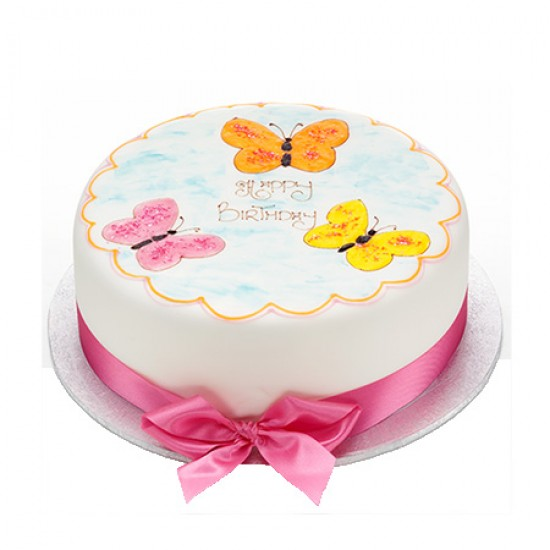 Iced Butterflies Cake Round