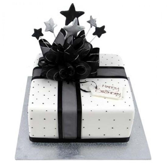Square Design Birthday Cake : Starlight Present Cake - Square