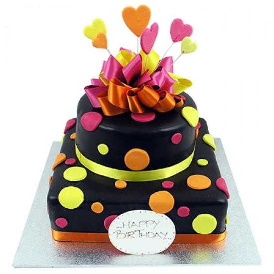 Funky Spotty Cake Two Tier