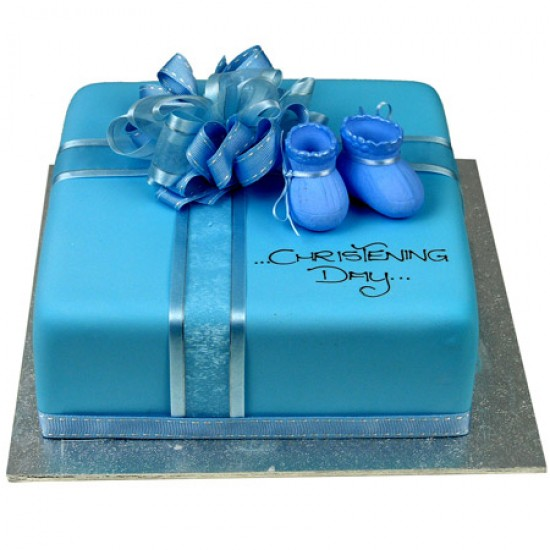 Little Booties Cake Blue Square