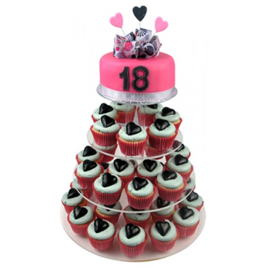 Lovely 18th Cupcake Cake