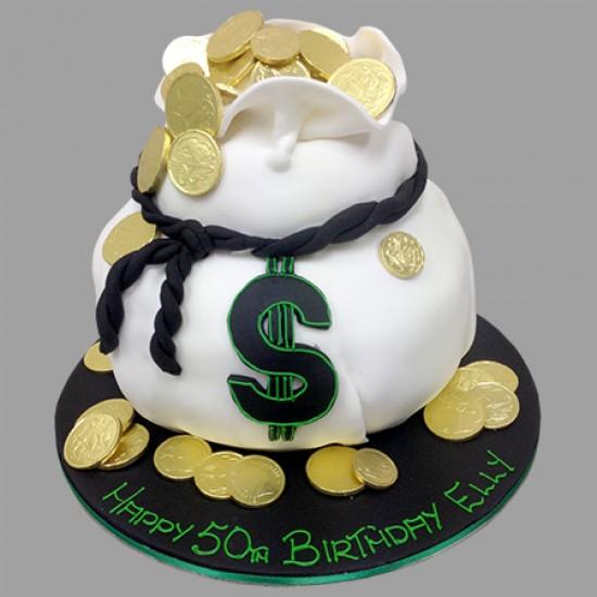 Click For Larger Image Money Bags Custom Birthday Cake
