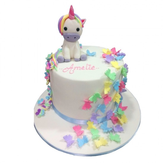 My Little Pony Birthday Cake.Butterflies Unicorn Birthday Cake
