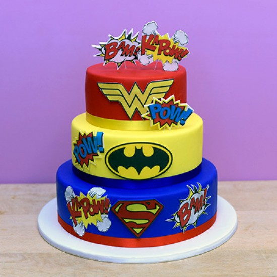 Enjoyable Superheroes Custom Cake Personalised Birthday Cards Veneteletsinfo
