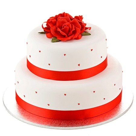 Red Colour Cake Images : Red Rose Cake - Two Tiers