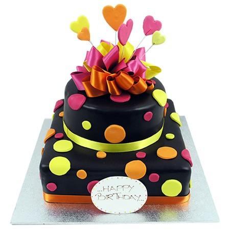 Funky Spotty Cake - Two Tiers