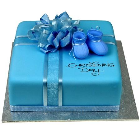 Square Blue Bootie Cake
