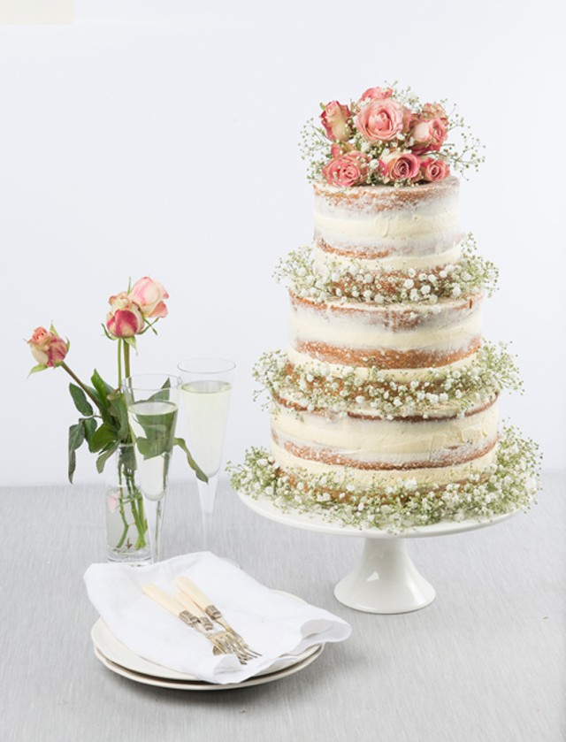 Baby's Breath Naked Wedding Cake