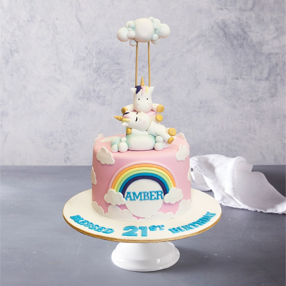 Unicorns, Clouds & Rainbow Birthday Cake