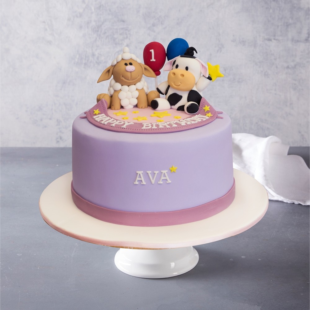 Peachy Farmyard Animals Birthday Cake Personalised Birthday Cards Veneteletsinfo