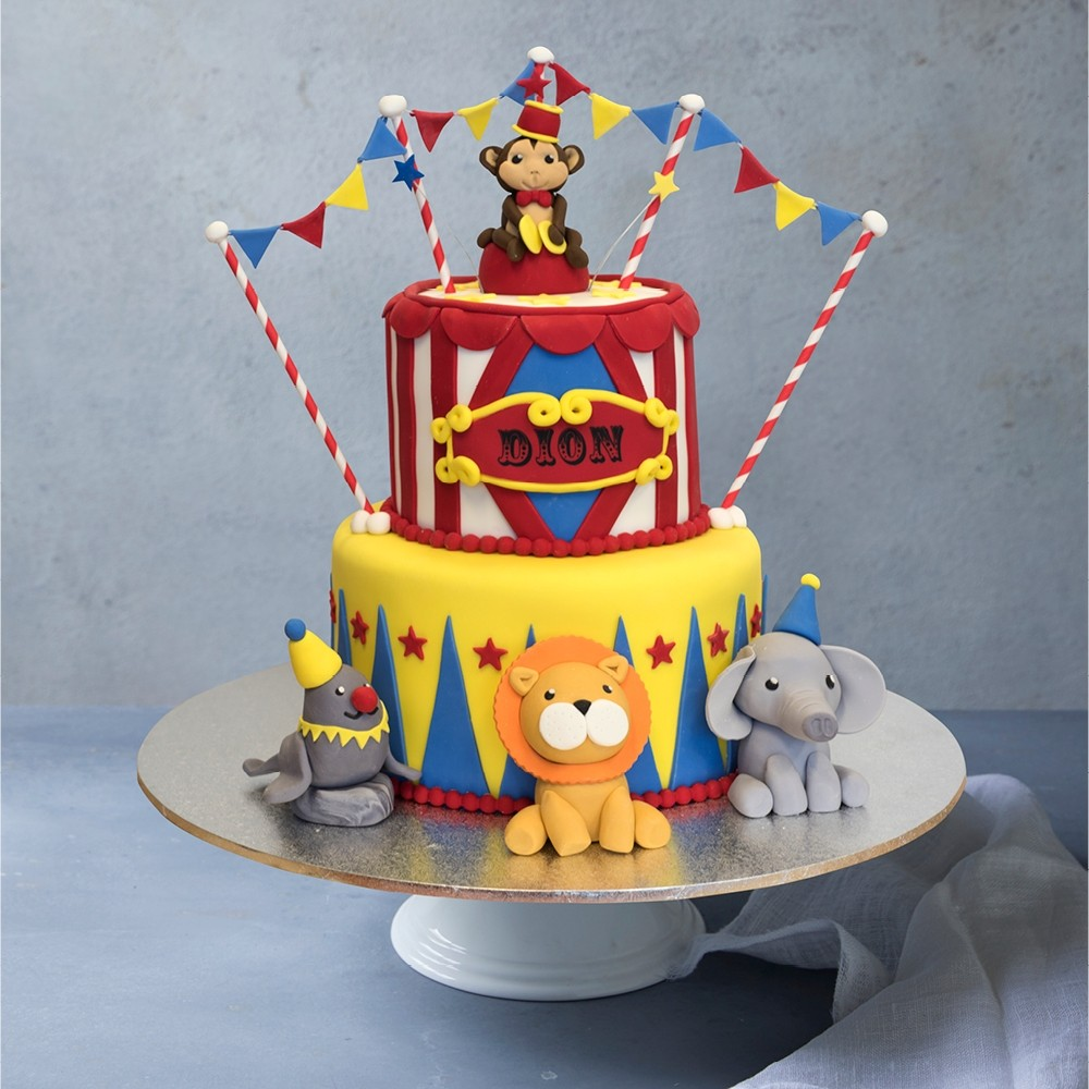 Amazing Circus Animals Birthday Cake Personalised Birthday Cards Veneteletsinfo