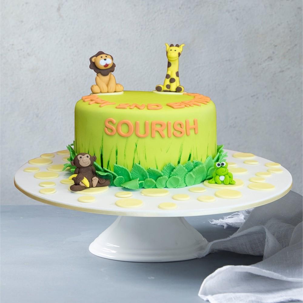 Prime Jungle Babies Birthday Cake Personalised Birthday Cards Bromeletsinfo