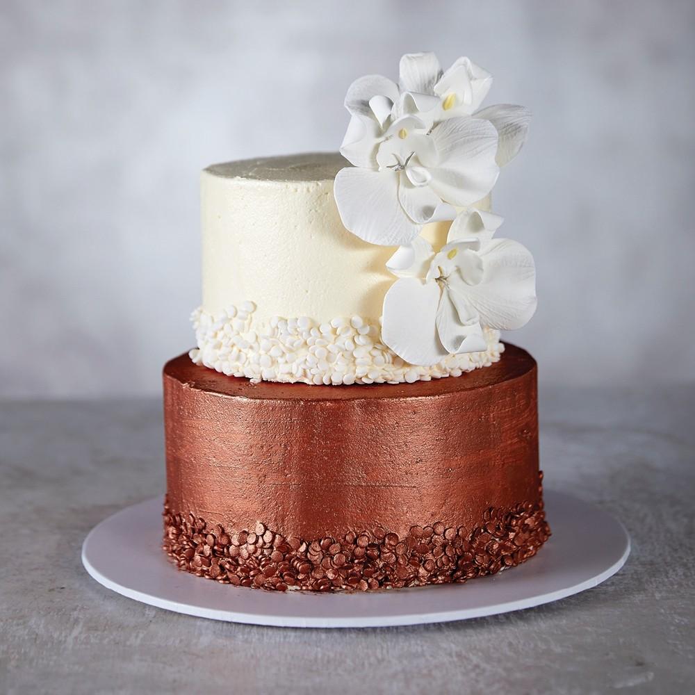 Copper & Cream Wedding Cake