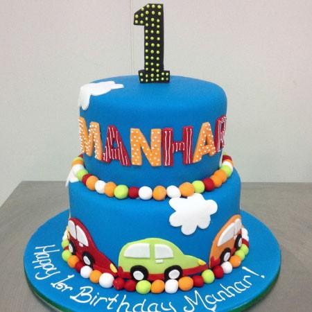 Colourful Cars Custom Birthday Cake