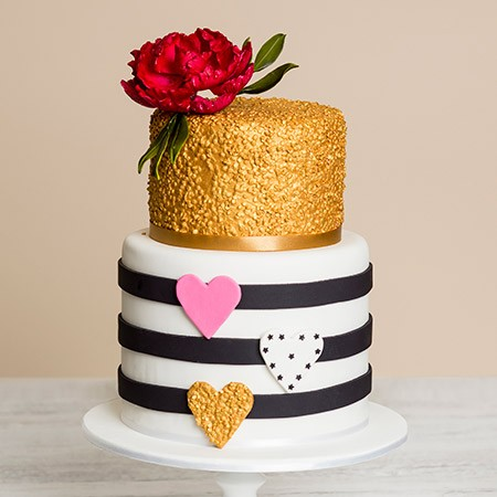 Flowers & Hearts Birthday Cake